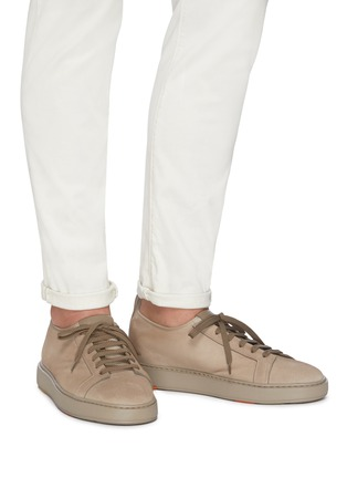 Figure View - Click To Enlarge - SANTONI - Stretch suede sneakers