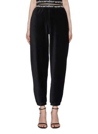 Main View - Click To Enlarge - ALEXANDERWANG.T - Branded Elastic Waistband Corduroy Jogger Pants