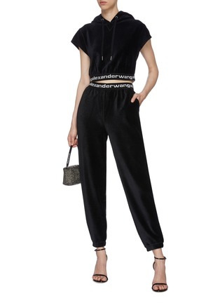 Figure View - Click To Enlarge - ALEXANDERWANG.T - Branded Elastic Waistband Corduroy Jogger Pants