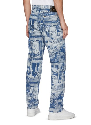 Back View - Click To Enlarge - ARIES - x Lee 'Rider' Sculpture Print Taper Leg Jeans