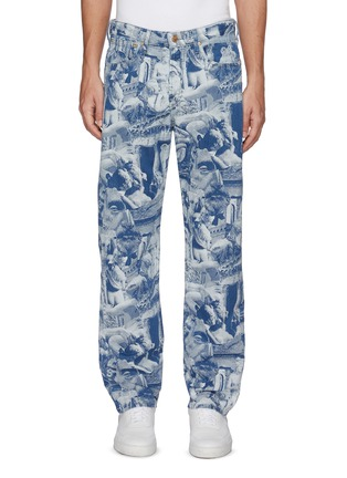 Main View - Click To Enlarge - ARIES - x Lee 'Rider' Sculpture Print Taper Leg Jeans