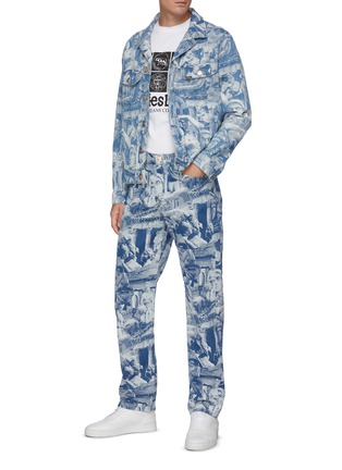 Figure View - Click To Enlarge - ARIES - x Lee 'Rider' Sculpture Print Taper Leg Jeans