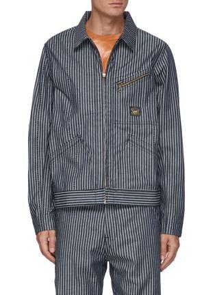 Main View - Click To Enlarge - ARIES - x Lee '191' Zip Front Stripe Denim Jacket