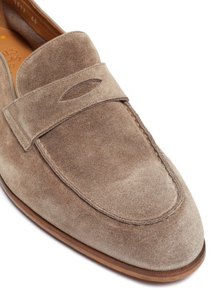 Detail View - Click To Enlarge - DOUCAL'S - 'Derek Washed' leather penny loafers