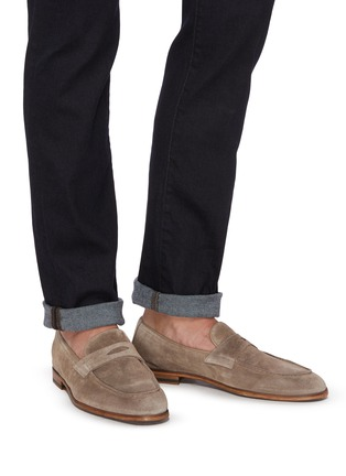 Figure View - Click To Enlarge - DOUCAL'S - 'Derek Washed' leather penny loafers