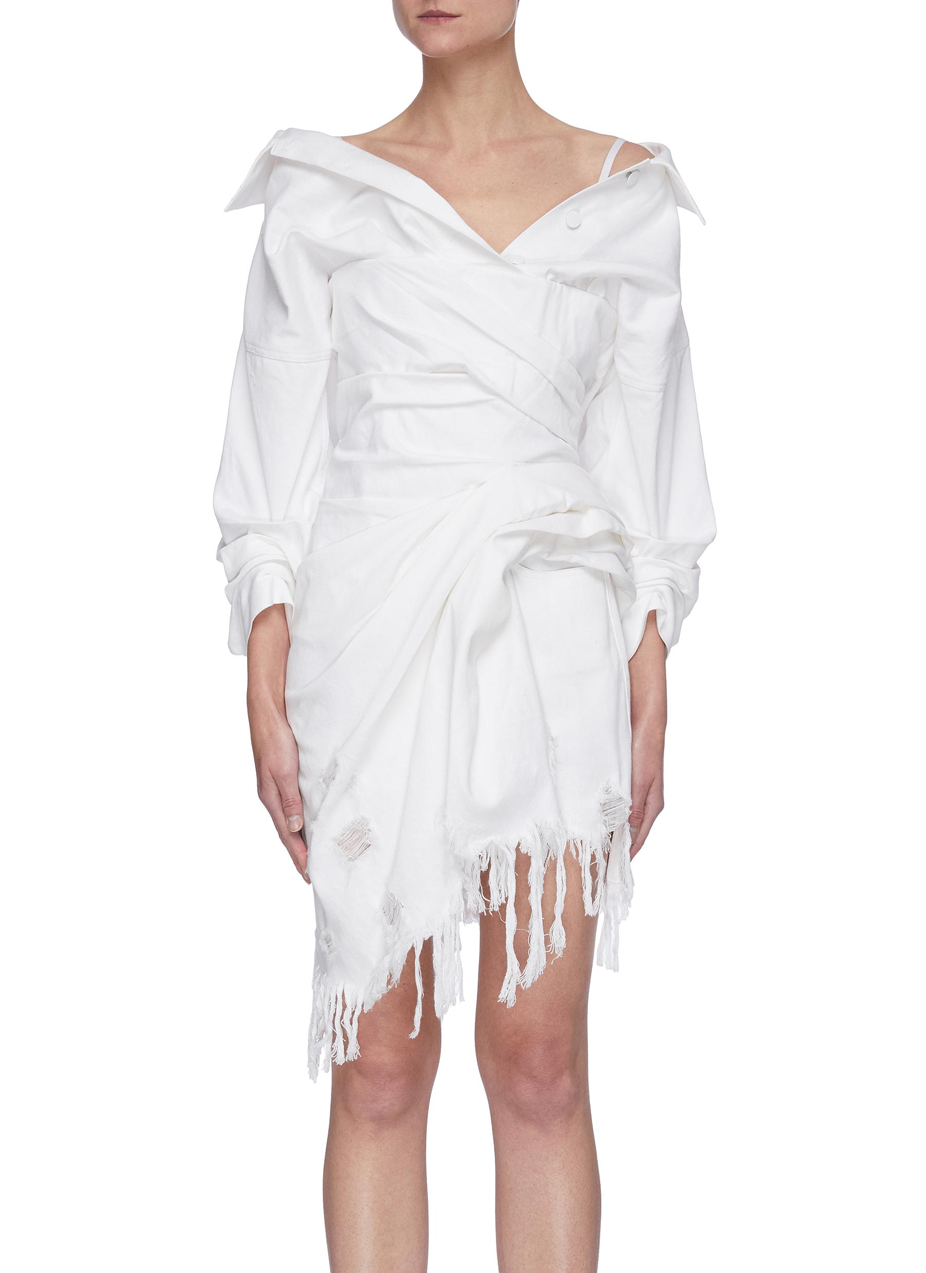 Alexander Wang Denims INTEGRATED CORSET RAW HEM ASYMMETRICAL DRESS