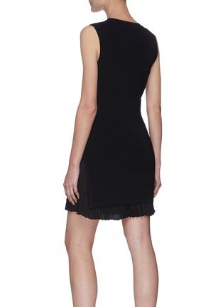 Back View - Click To Enlarge - THEORY - Pleat Bottom Insert Rib Knit Mini Dress