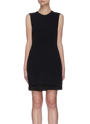 Main View - Click To Enlarge - THEORY - Pleat Bottom Insert Rib Knit Mini Dress
