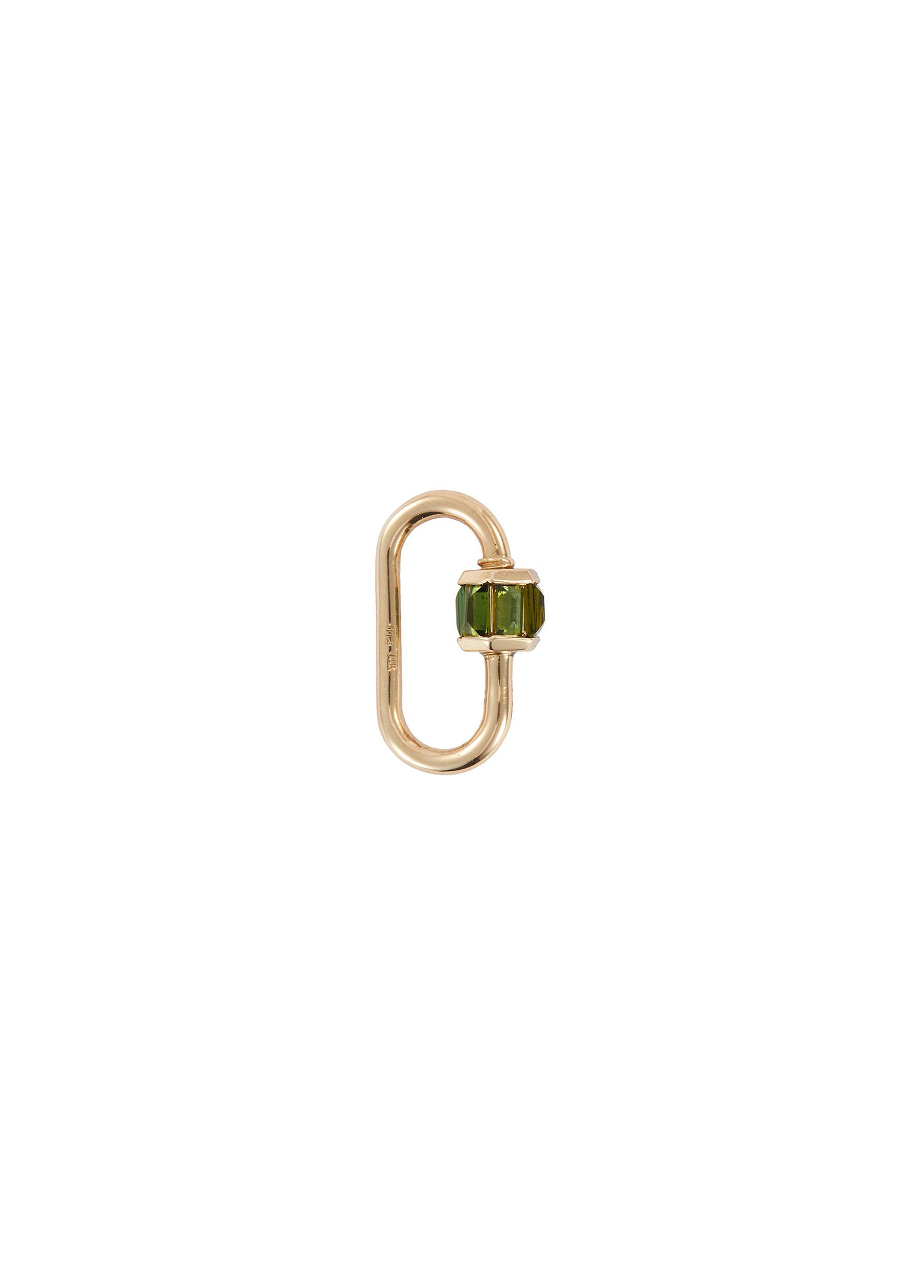 Green tourmaline 14k gold baguette medium lock
