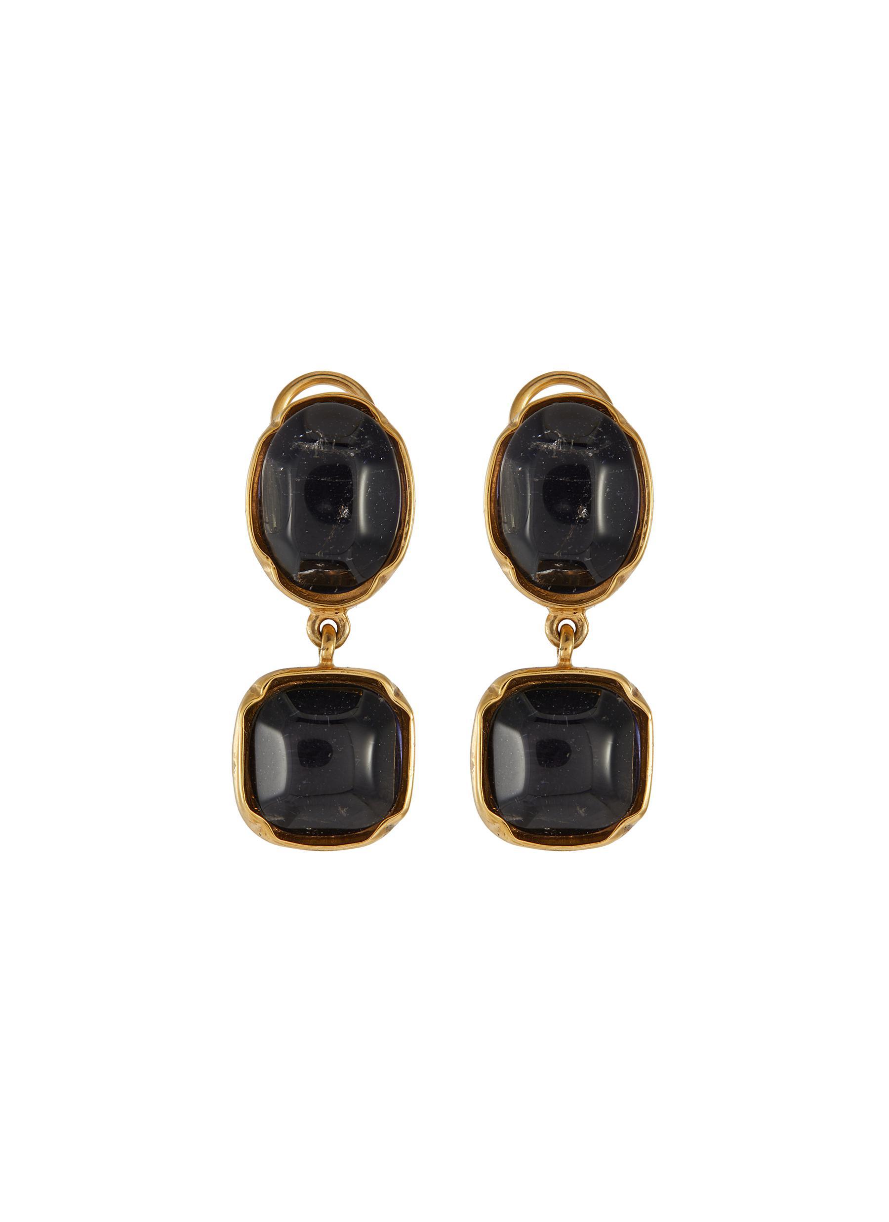 Cabochon bead clip drop earrings