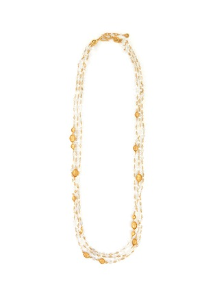 Main View - Click To Enlarge - GOOSSENS - Multi bead three strand long necklace