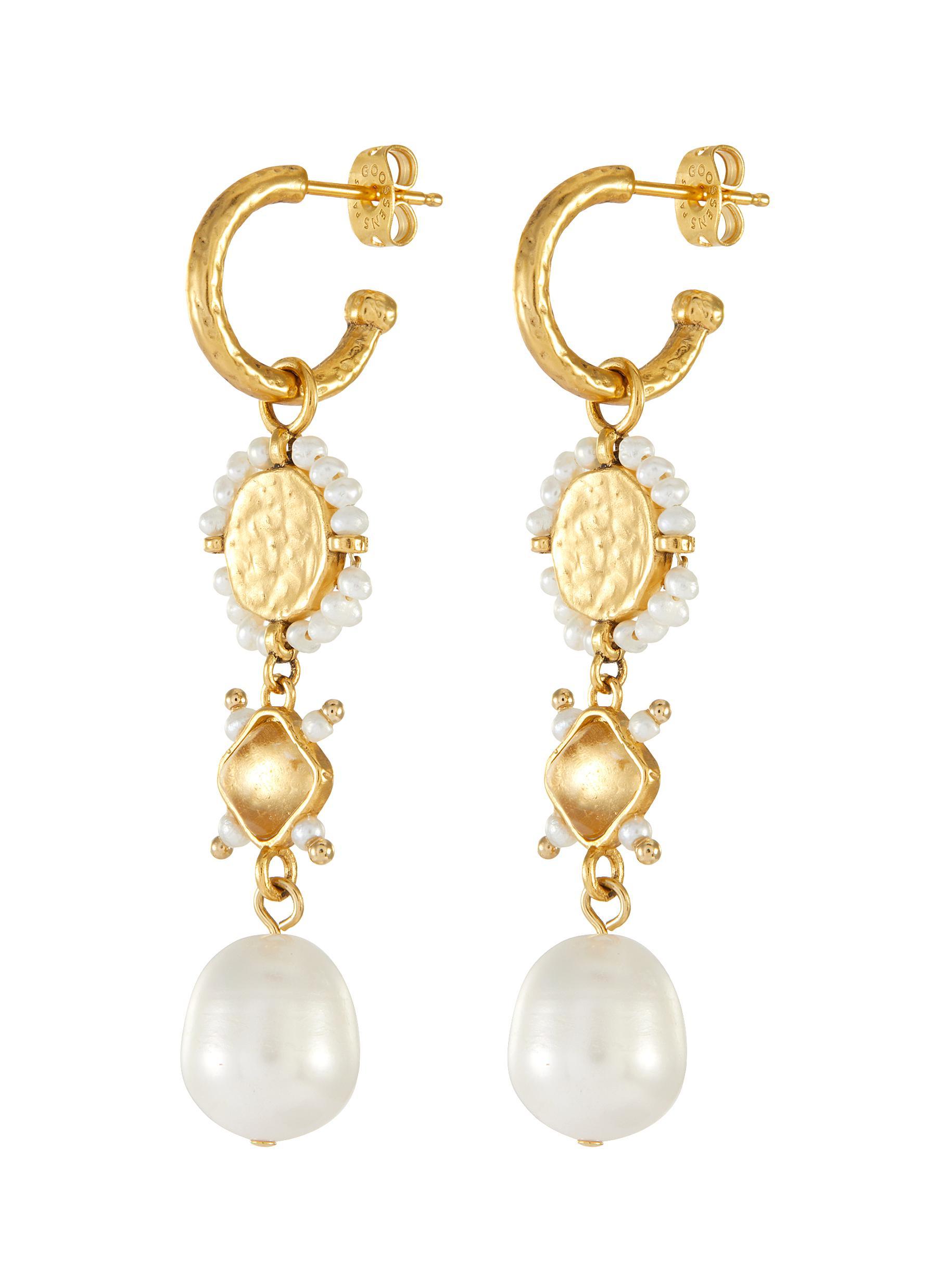 Pearl embellished drop earrings