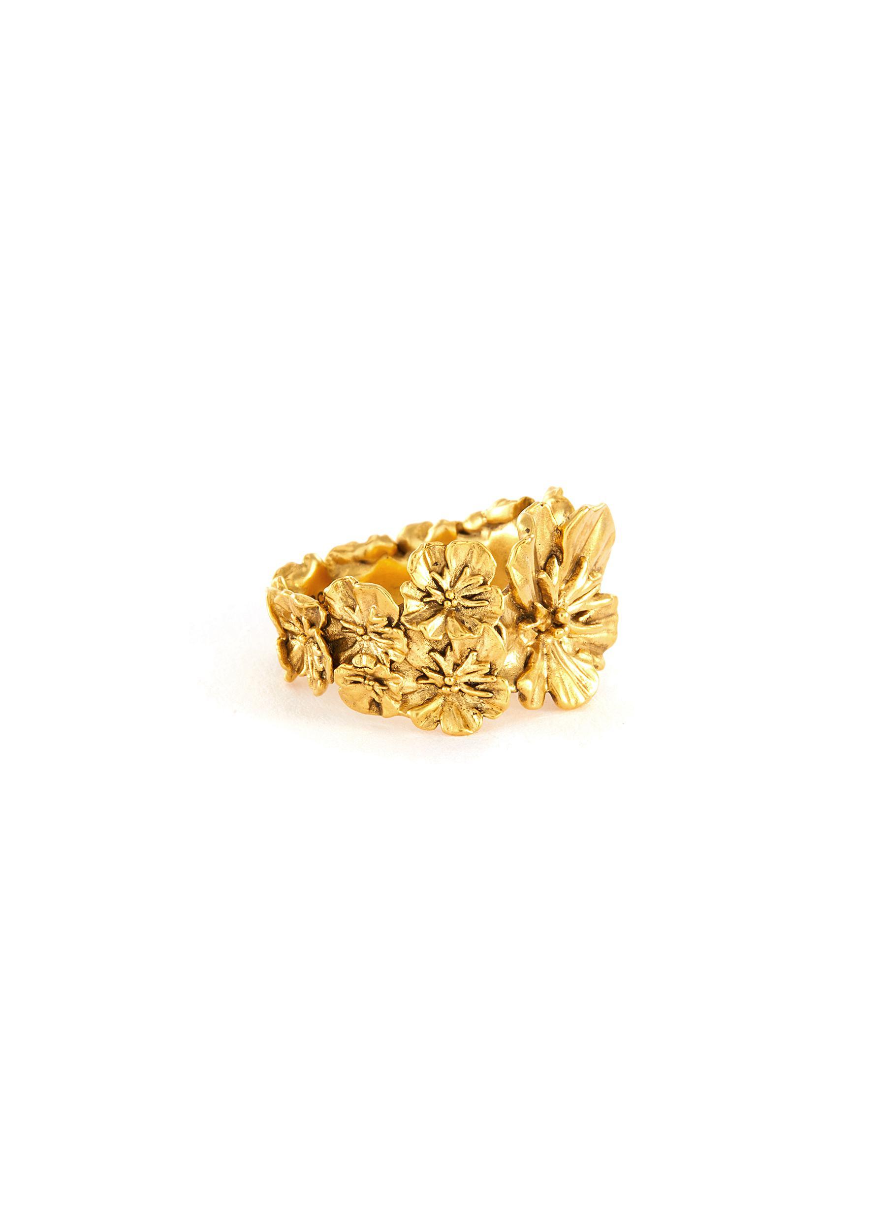 Flower motif metal ring