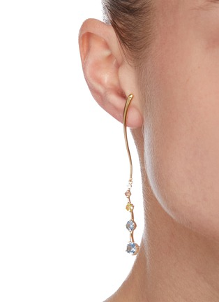 Figure View - Click To Enlarge - YUESPHERE - Ripple' spinel cubic zirconia 18k gold plated sterling silver earrings