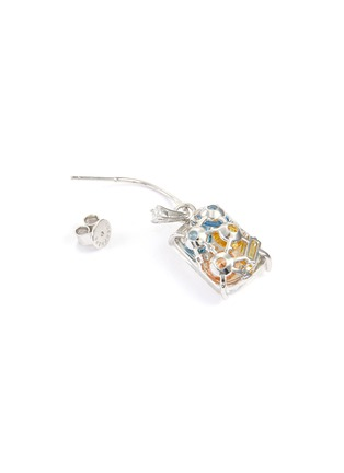 Detail View - Click To Enlarge - YUESPHERE - Dispersion' spinel cubic zirconia crystal rhodium plated sterling silver hoop earrings