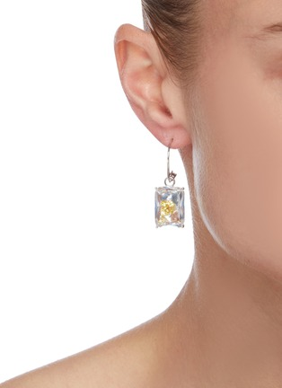 Figure View - Click To Enlarge - YUESPHERE - Dispersion' spinel cubic zirconia crystal rhodium plated sterling silver hoop earrings