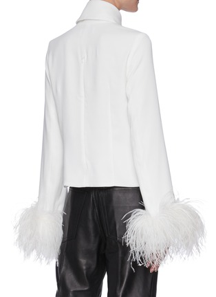 Back View - Click To Enlarge - 16ARLINGTON - 'Michelle' ostrich feather cuff crepe top