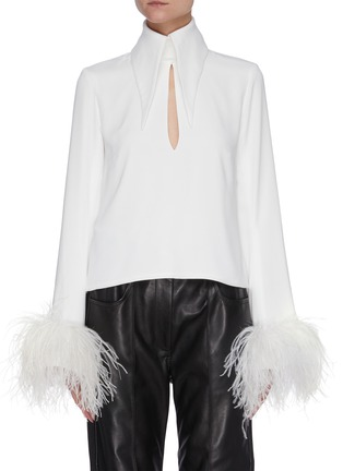 Main View - Click To Enlarge - 16ARLINGTON - 'Michelle' ostrich feather cuff crepe top
