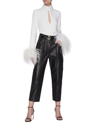 Figure View - Click To Enlarge - 16ARLINGTON - 'Michelle' ostrich feather cuff crepe top