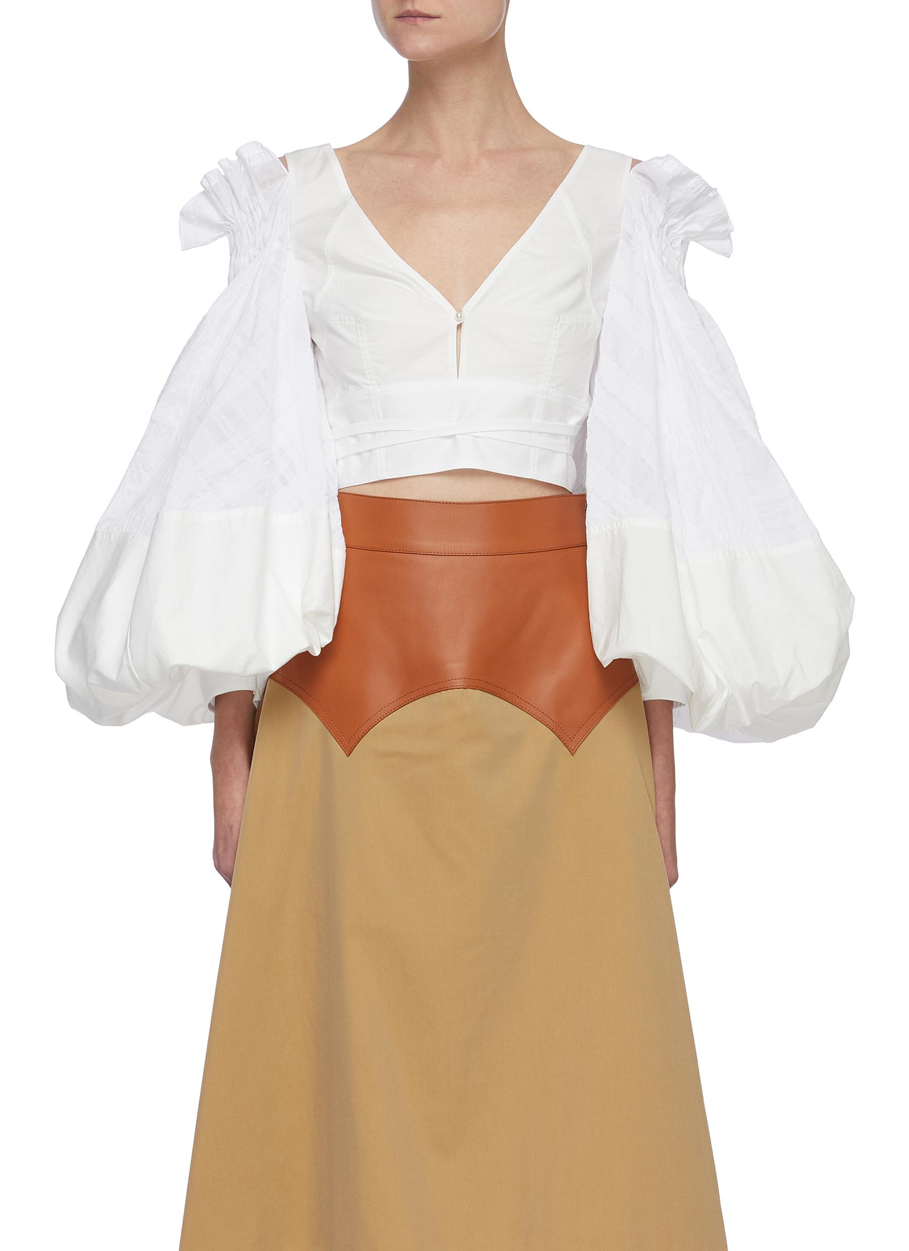 Loewe RUCHED BALLOON SLEEVE V-NECK CROP BLOUSE