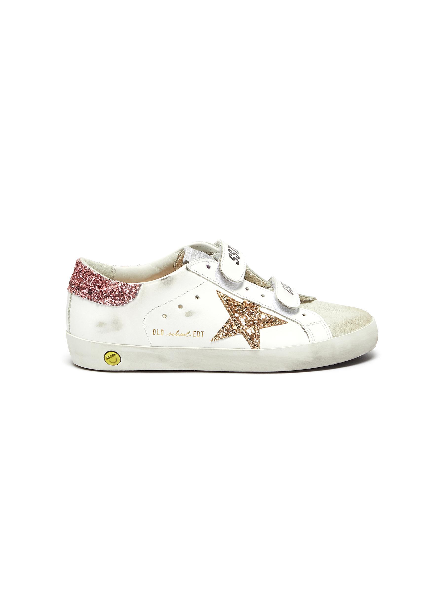 'Old School' Glitter Star Motif Distressed Kids Leather Sneakers