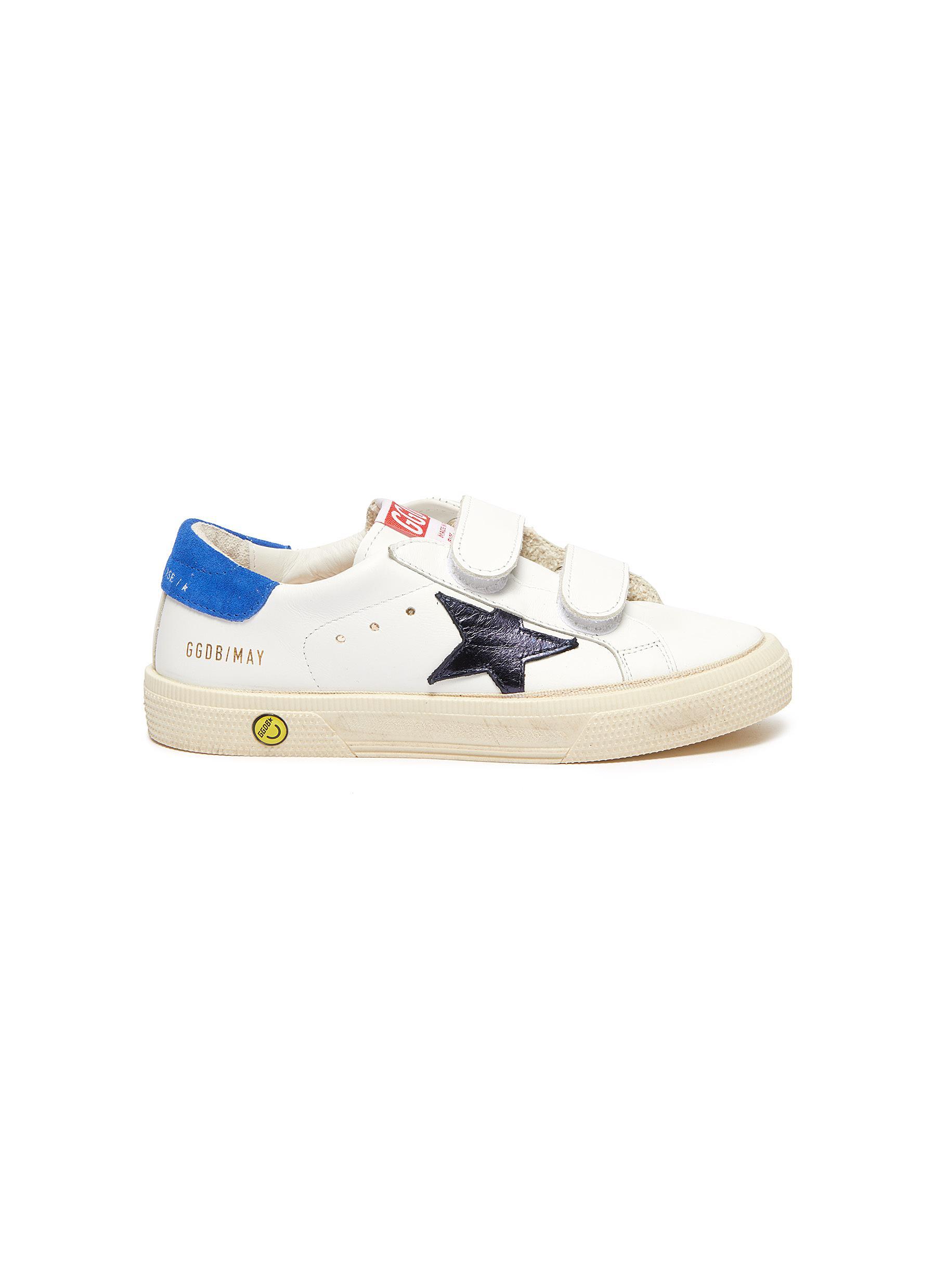 'May School' Contrast Star Motif Heel Tab Leather Kids Sneakers