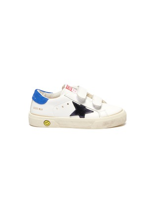 Main View - Click To Enlarge - GOLDEN GOOSE - 'May School' Contrast Star Motif Heel Tab Leather Toddler Sneakers