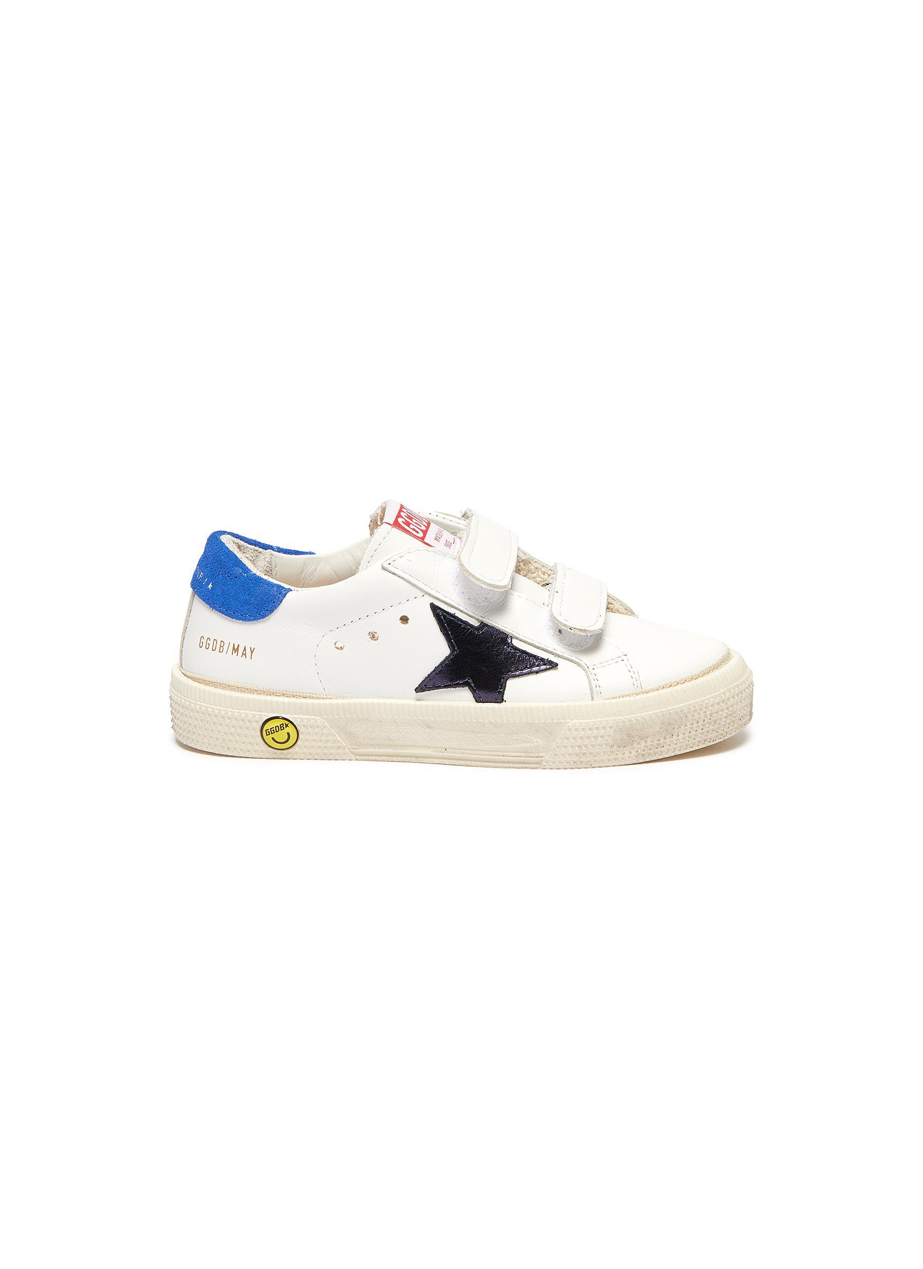 'May School' Contrast Star Motif Heel Tab Leather Toddler Sneakers
