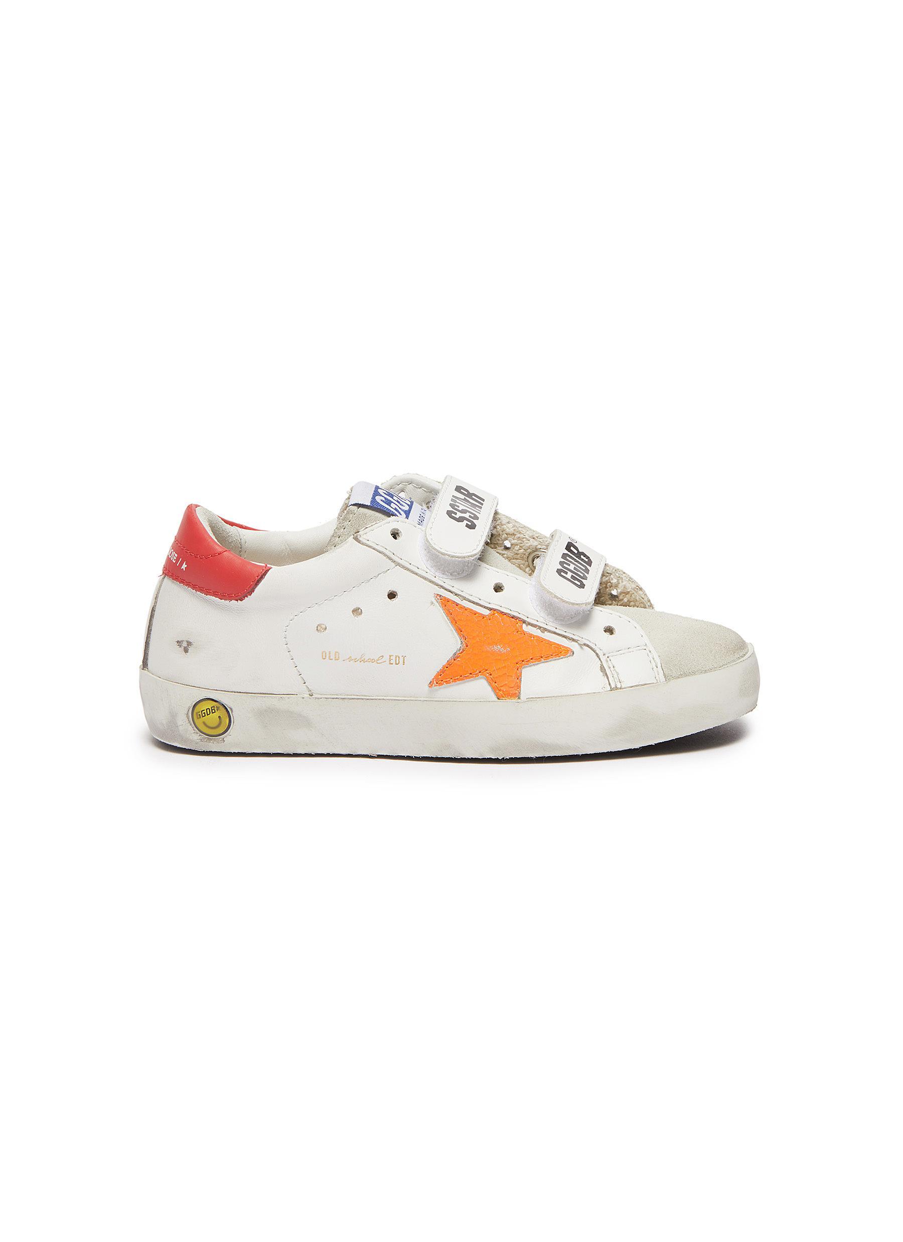 Old School' Contrast Star Motif Heel Tab Leather Toddler Sneakers
