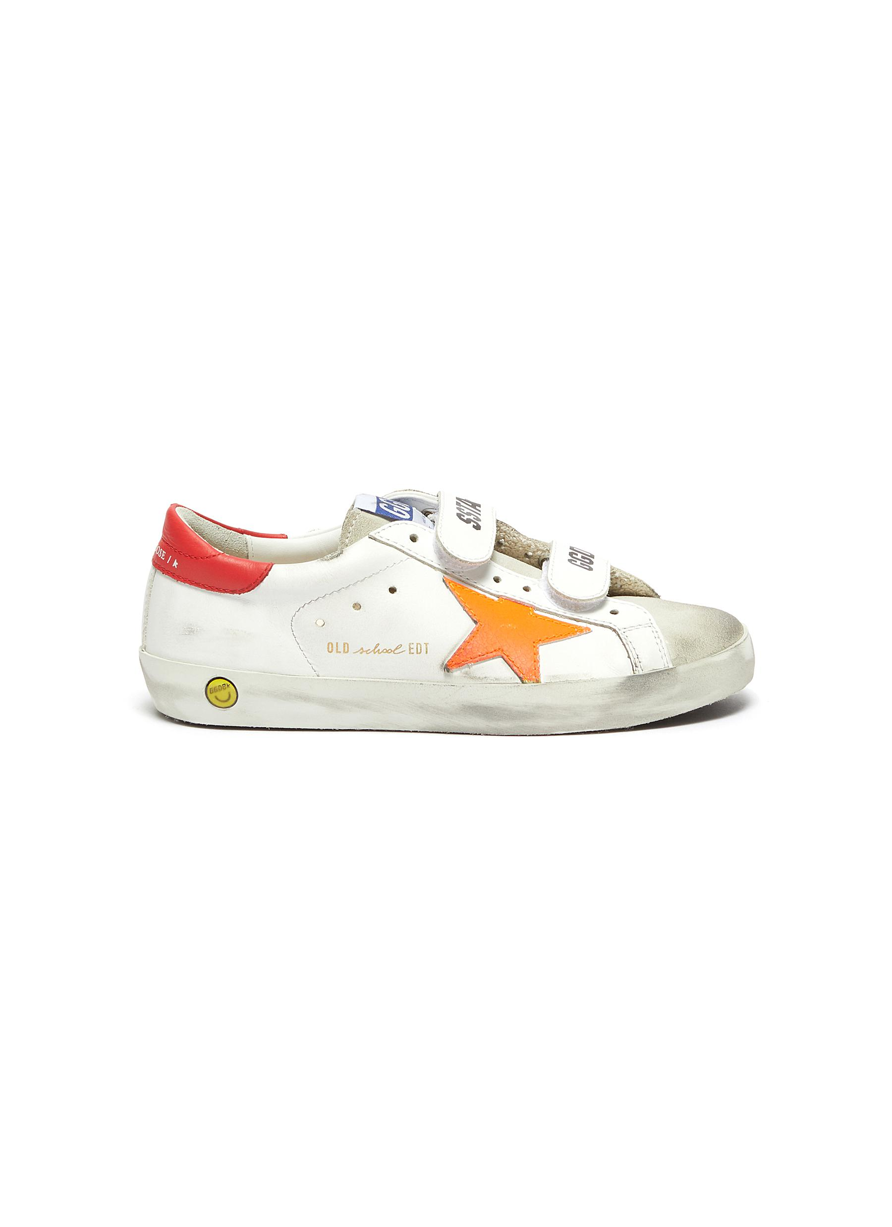 'Old School' Contrast Accent Distressed Kids Leather Sneakers