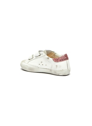 Detail View - Click To Enlarge - GOLDEN GOOSE - 'Old School' Glitter Star Motif Distressed Toddler Leather Sneakers