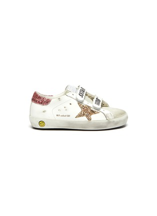 Main View - Click To Enlarge - GOLDEN GOOSE - 'Old School' Glitter Star Motif Distressed Toddler Leather Sneakers