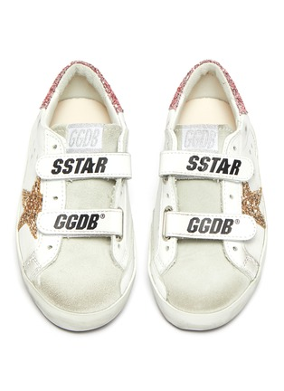 Figure View - Click To Enlarge - GOLDEN GOOSE - 'Old School' Glitter Star Motif Distressed Toddler Leather Sneakers