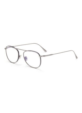 Main View - Click To Enlarge - TOM FORD - Blue filter metal frame optical aviator glasses