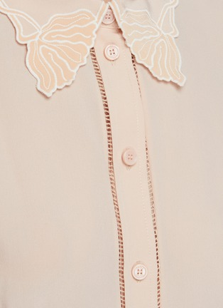 - CHLOÉ - Silk Trimmed Perforated Accent Silk Shirt