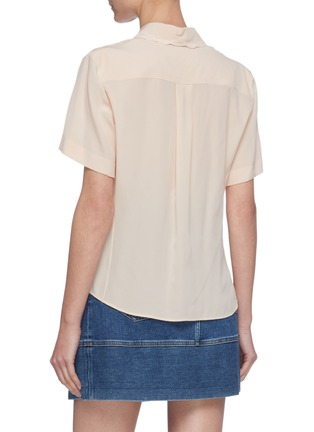 Back View - Click To Enlarge - CHLOÉ - Silk Trimmed Perforated Accent Silk Shirt