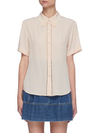 Main View - Click To Enlarge - CHLOÉ - Silk Trimmed Perforated Accent Silk Shirt