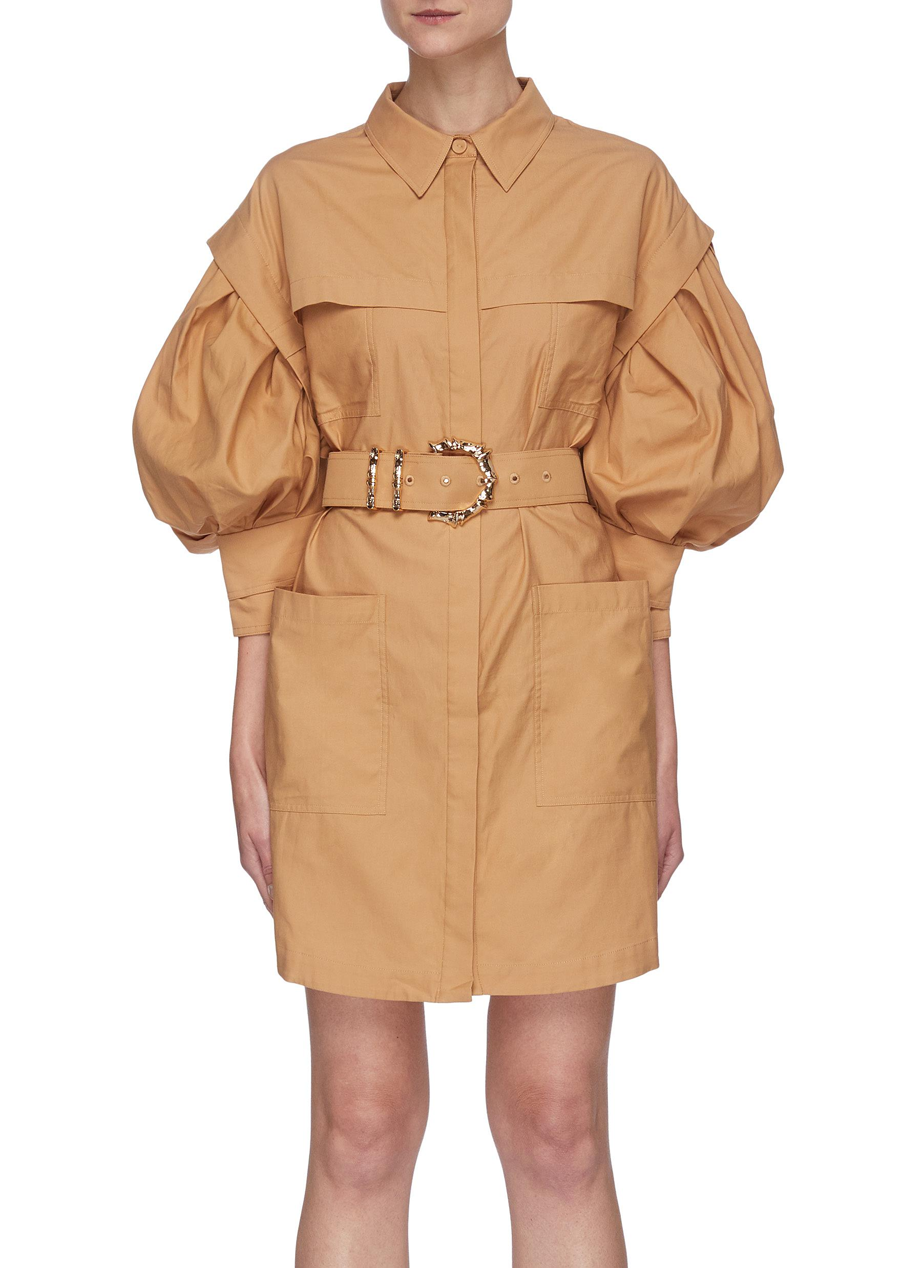 Acler KINDSWAY' BALLOON SLEEVE BELTED MINI SHIRT DRESS