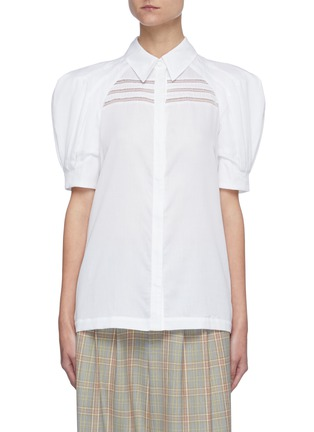 Main View - Click To Enlarge - GABRIELA HEARST - 'Zanetti' Pleated Puff Sleeve Button-down Shirt