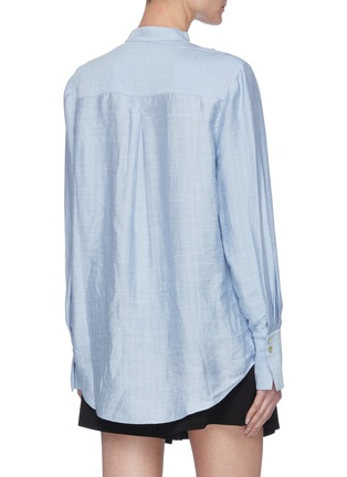 Back View - Click To Enlarge - ACLER - 'Hillcrest' Strap Detail Drape Front Round Collar Blouse
