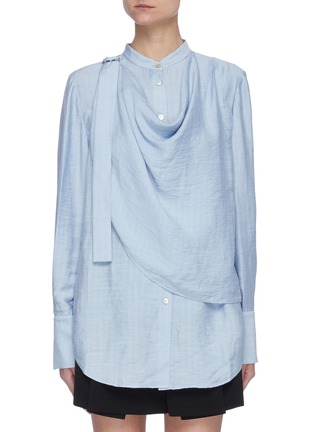 Main View - Click To Enlarge - ACLER - 'Hillcrest' Strap Detail Drape Front Round Collar Blouse