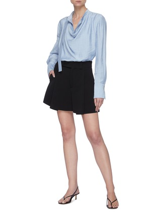 Figure View - Click To Enlarge - ACLER - 'Hillcrest' Strap Detail Drape Front Round Collar Blouse