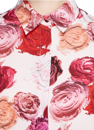 Detail View - Click To Enlarge - MSGM - Makeup rose print silk shirt