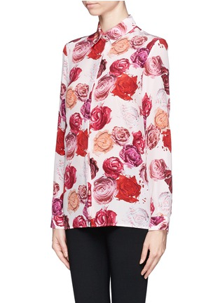 Front View - Click To Enlarge - MSGM - Makeup rose print silk shirt