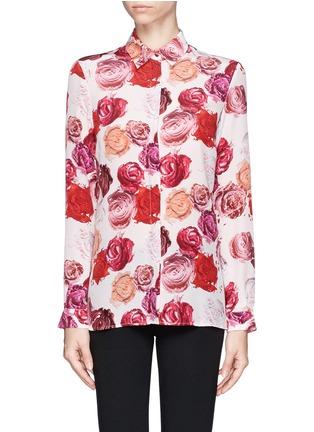 Main View - Click To Enlarge - MSGM - Makeup rose print silk shirt