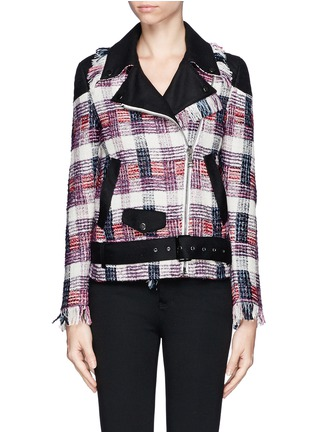 Detail View - Click To Enlarge - MSGM - Plaid weave biker jacket