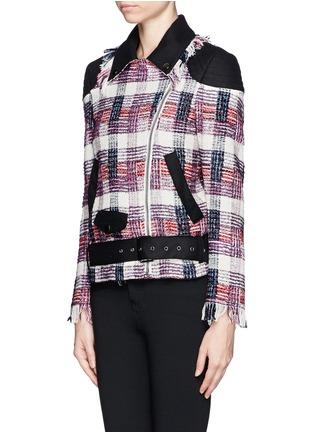 - MSGM - Plaid weave biker jacket