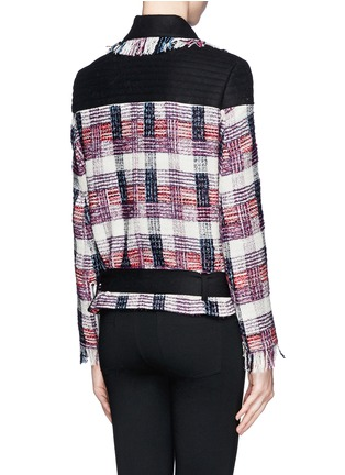 Back View - Click To Enlarge - MSGM - Plaid weave biker jacket