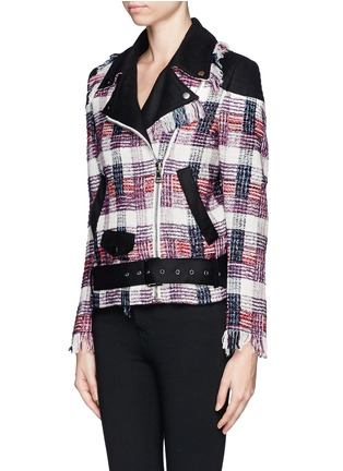 Front View - Click To Enlarge - MSGM - Plaid weave biker jacket