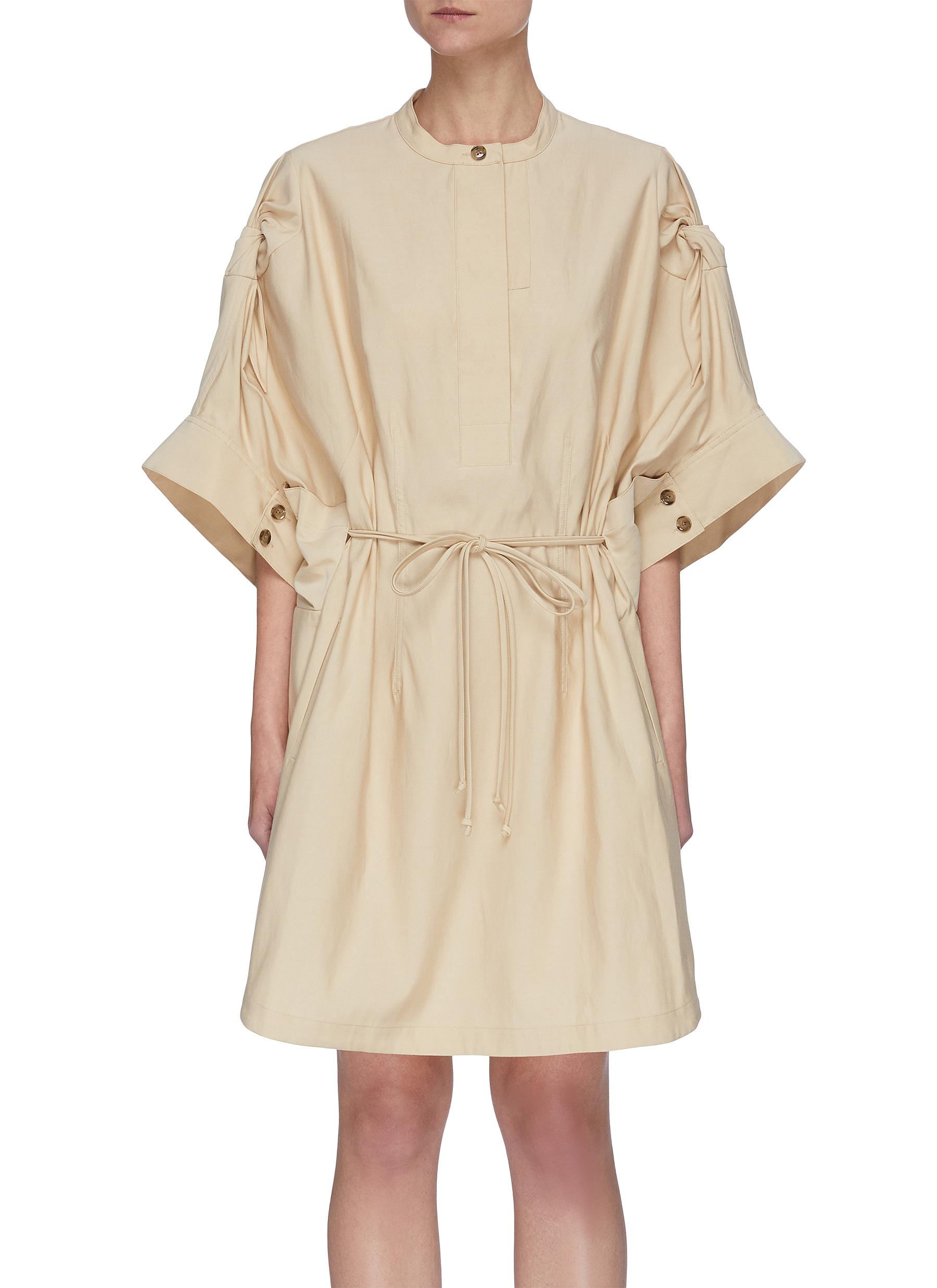 3.1 Phillip Lim LOOSE KNOTTED SLEEVES DRAWSTRING WAIST DRESS